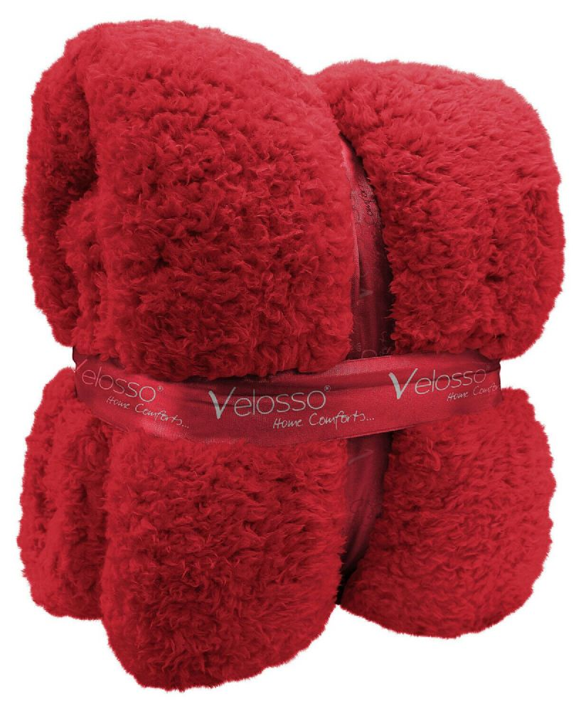 TEDDY BEAR FLEECE SOFT WARM LUXURY THICK CUDDLE THROW PLUSH BLANKET RED COLOUR